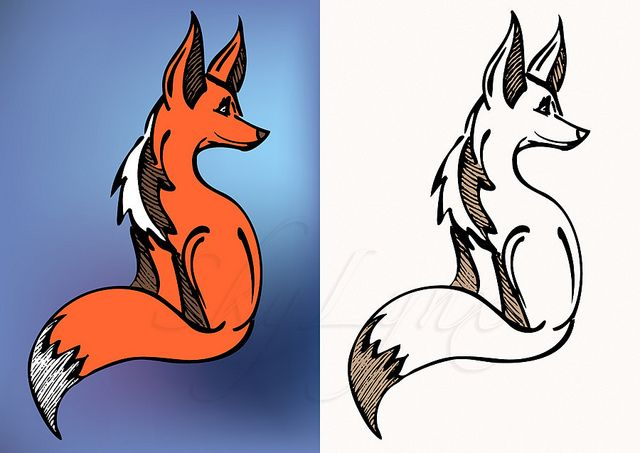 Red And Black White Fox Symbol A Red Side Sitting Fox Lo