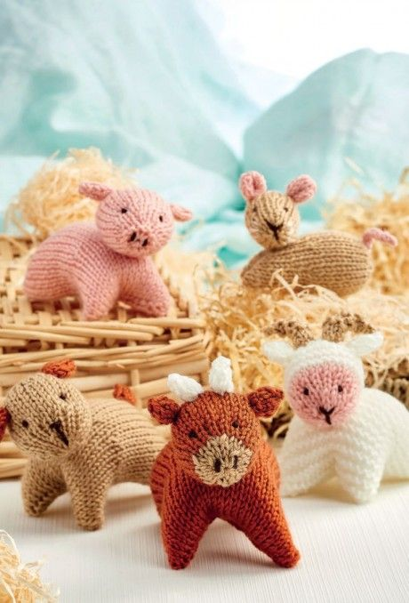 Farmyard Toy Set Free Knitting Patterns Animals Toy Knitting