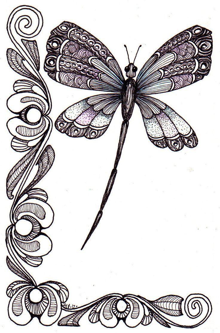 Dragonfly | Doodles, Drawings, Illustrations | Pinterest | Libélulas ...