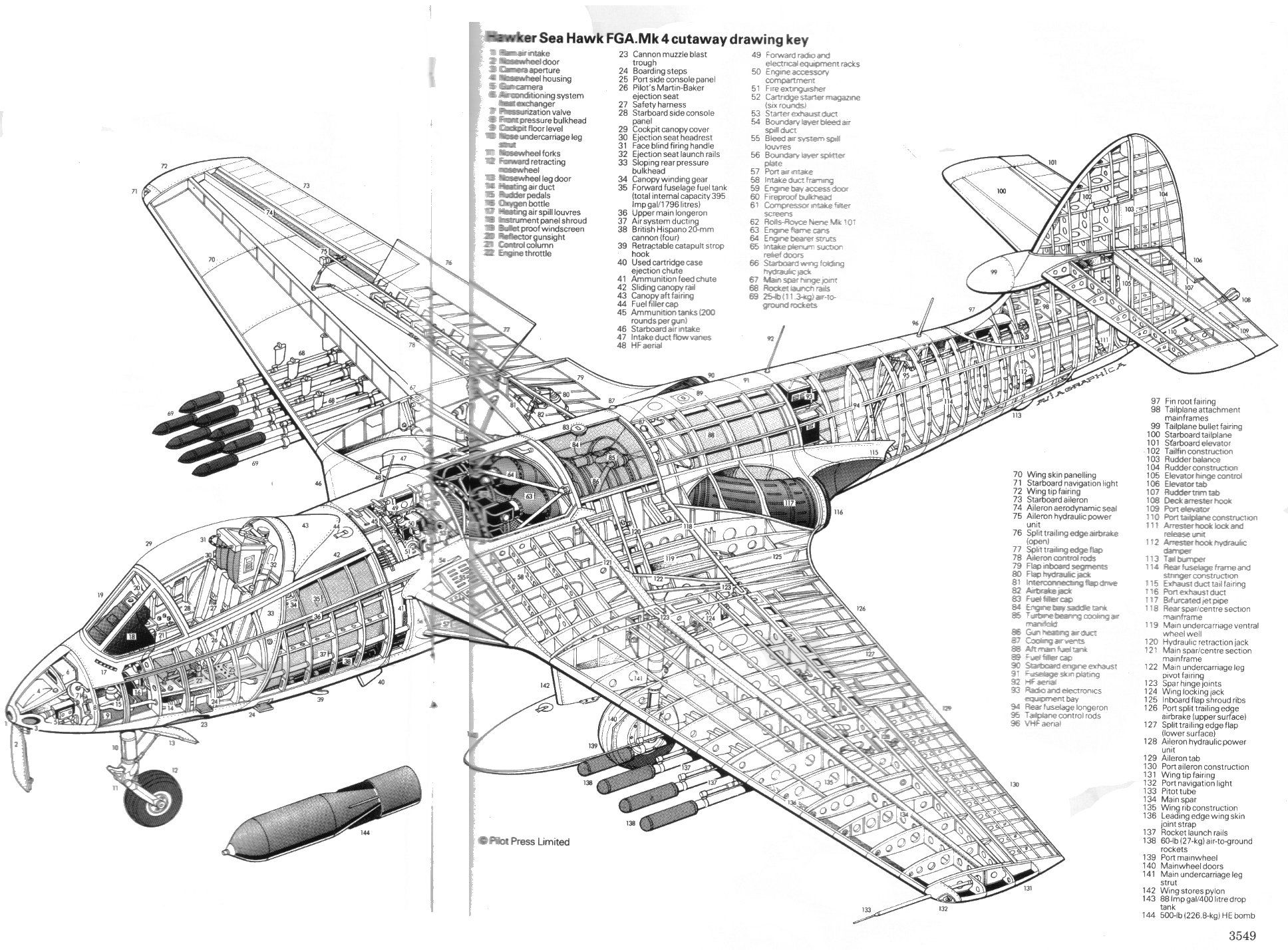 Hawker Sea Hawk Fga Mk4 Cutaway Drawing Key