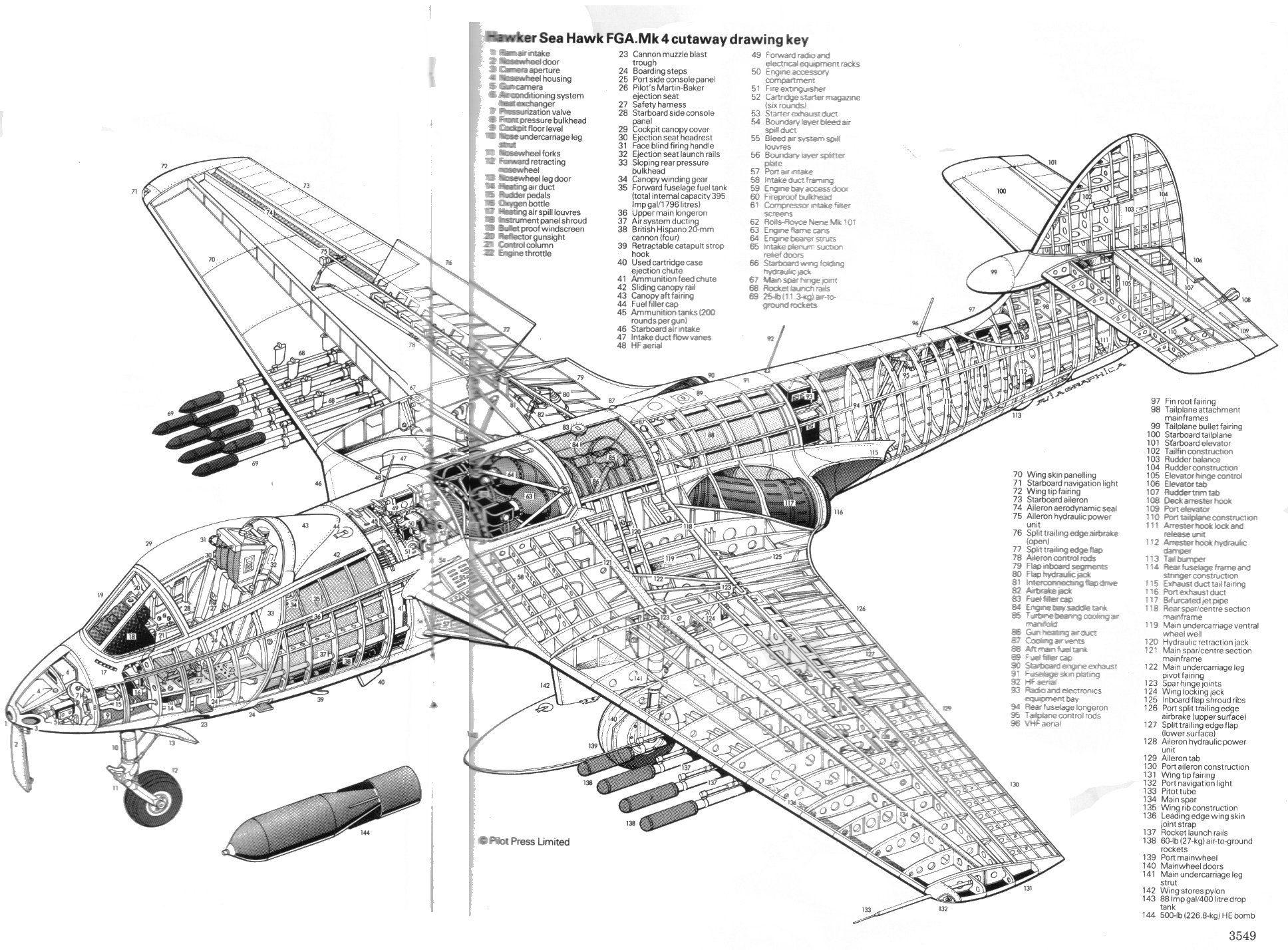 hawker sea hawk fga mk4 cutaway drawing key