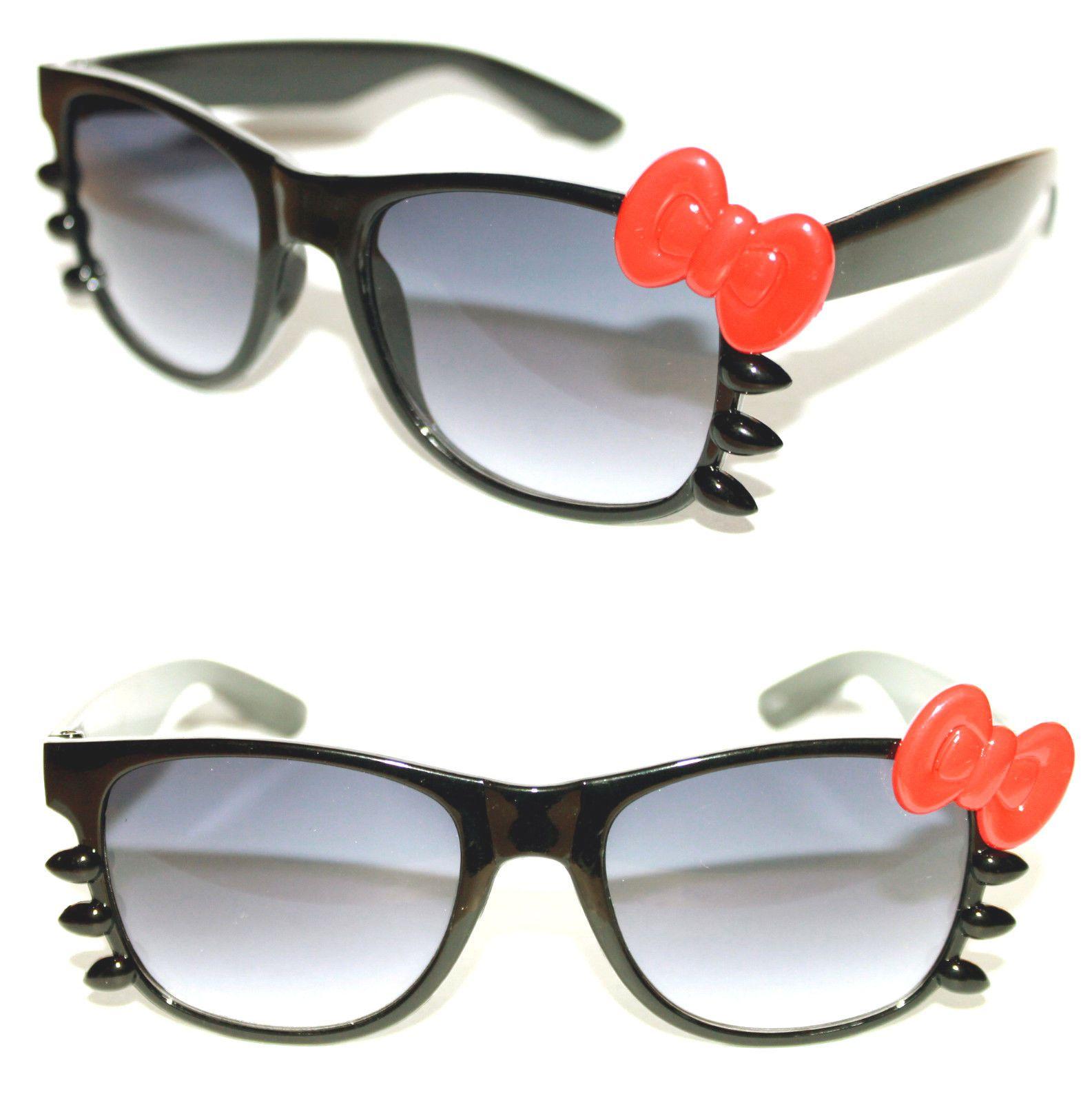 aebad9af54 Women s Hello Kitty Sunglasses Horn Rimmed Soho Black Frame Red Bow Whiskers