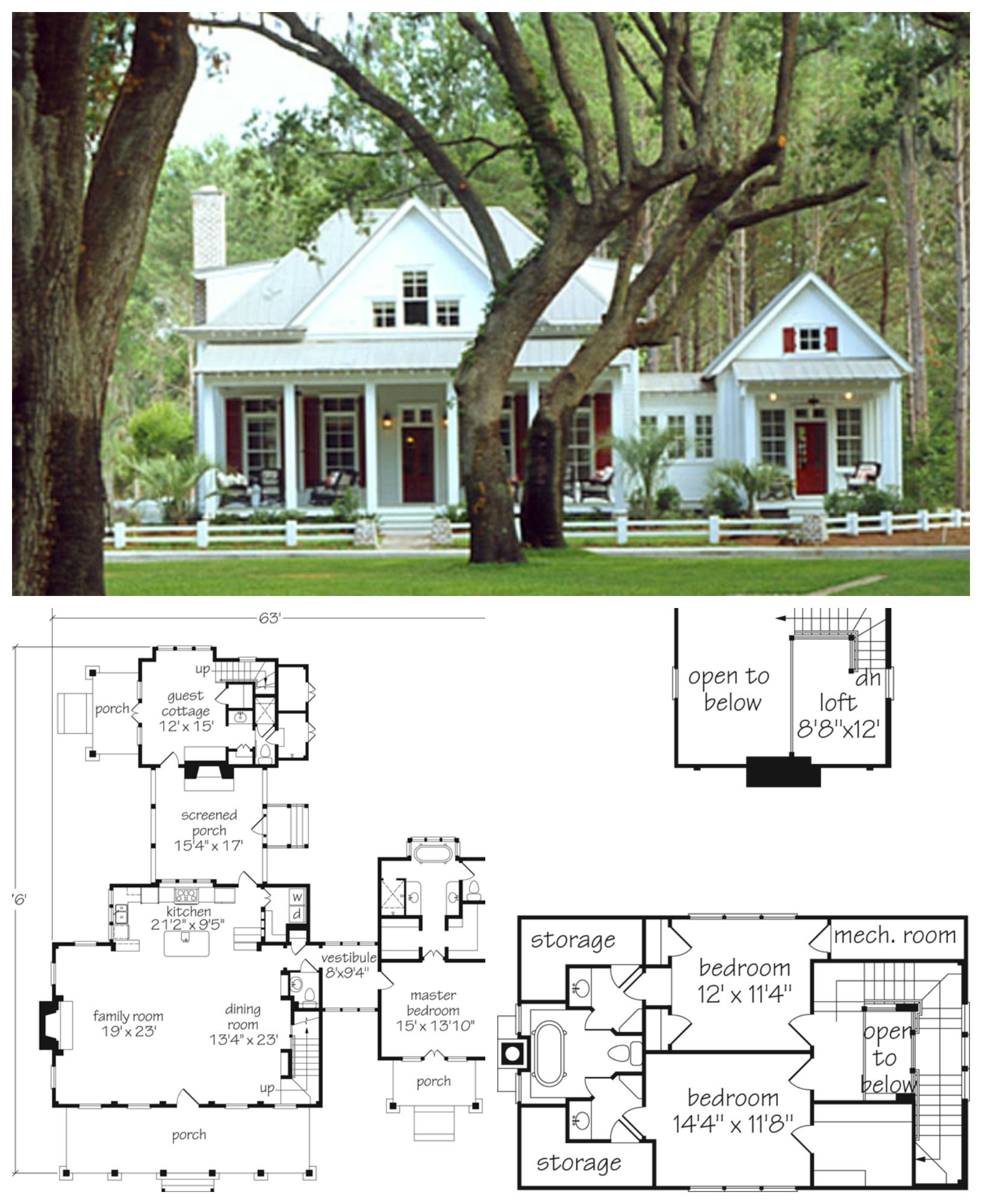 Darling 2000 Sq Ft Cottage With Private Master Bedroom And Quaint Guest Cottage In Back Cottage House Plans House Plans Farmhouse House Plans