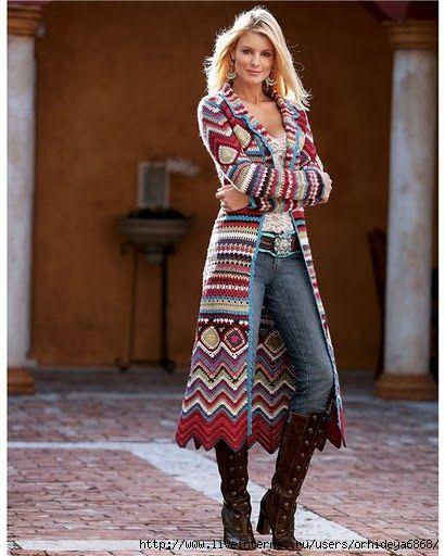 Wunderschön Crochet Hippie Jacket Coat Häkeln Damen Croché
