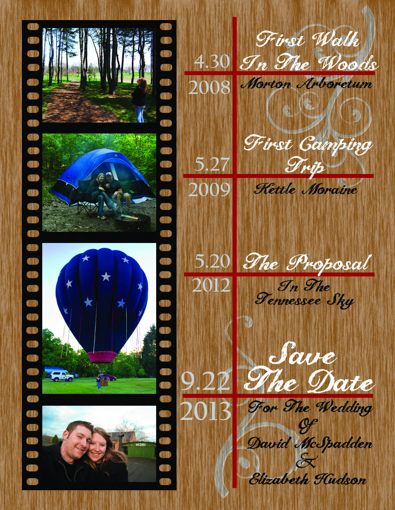 Our Save the Date Postcards.We took an idea from this site, and my Fiancé used photoshop to design and create every aspect of this. we then chose the wording and photos together and LOVE how it turned out!
