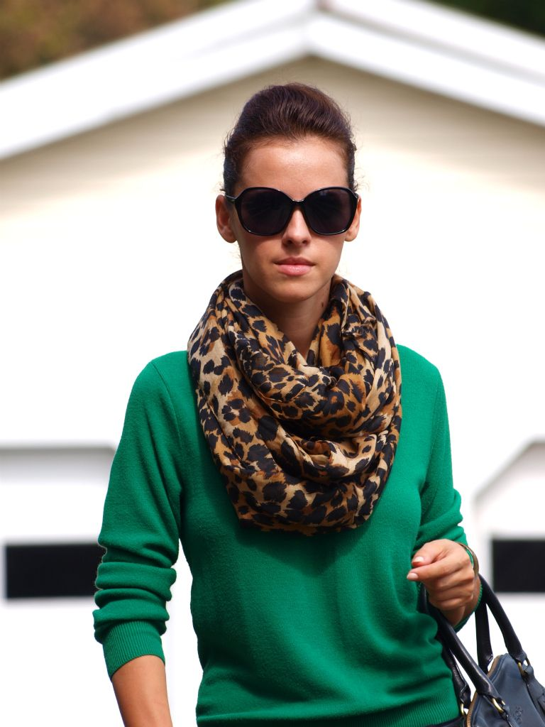 kelly green sweater and leopard print scarf  nice looking combination. Need this scarf! - THE GAME!