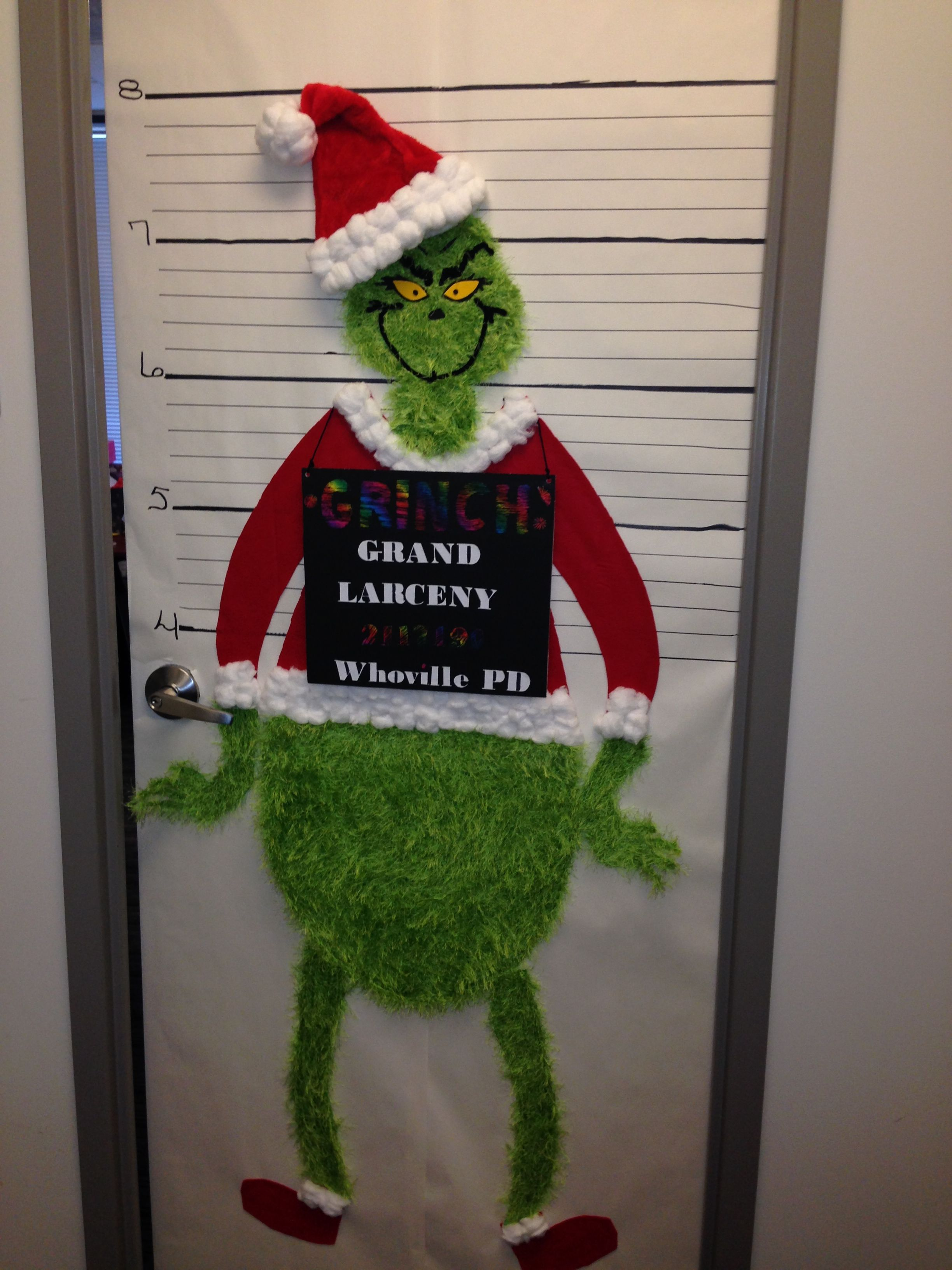 the grinch christmas office door decorating contest sheryl made it - Christmas Office Decorations