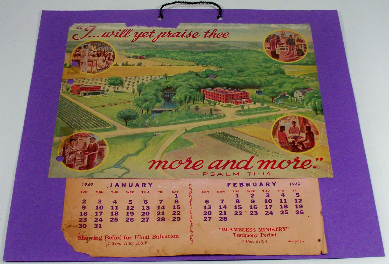 JW Calendar 1949 | JW_CALENDARS | Calendar, History, Jehovah