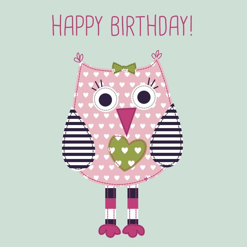 Baby Girl Happy Birthday card featuring Ade Owl Cards Gifts – Little Girl Birthday Cards