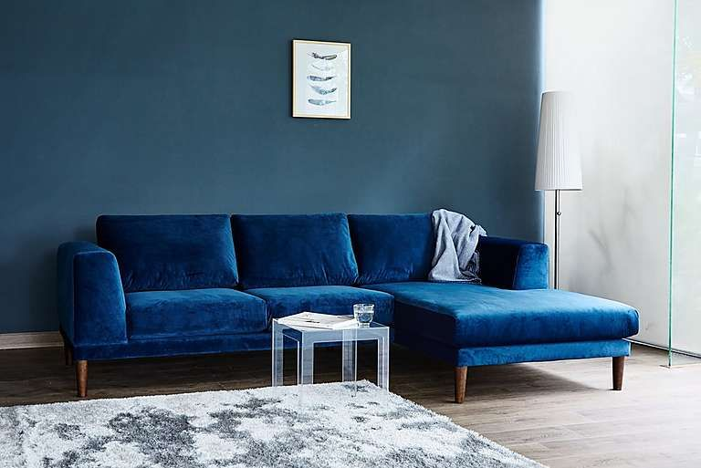 Dark Green Velvet Dark Blue Velvet Grey Velvet Aria 3 Seater Chaise End Sofa Corner Sofa Furniture Village 995 Estilos