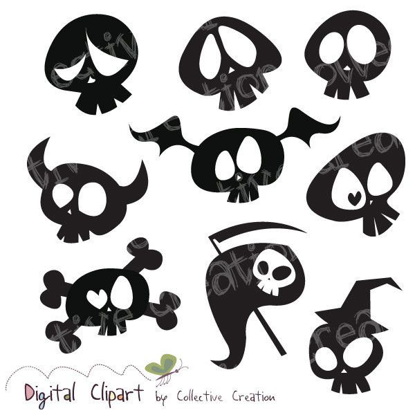 Cute Cartoon Skull Silhouette Clipart Digital Clip Art Ideal For 3 60 Liked On Polyvore Skull Silhouette Art And Craft Videos Drawings