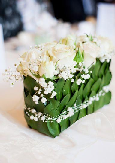 Centrotavola Originale Per Il Matrimonio Bianco E Verde Vi Piace Decorazioni Da Tavola Di Nozze Fiori Per Matrimoni Composizioni Floreali