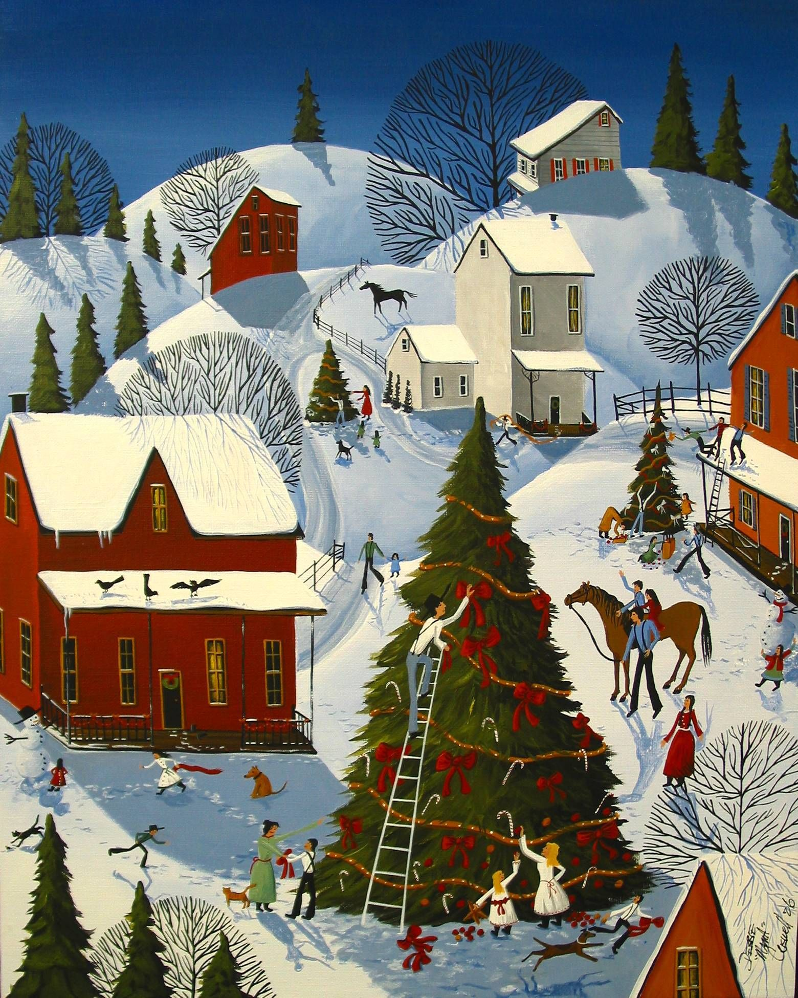 Country Christmas Tree Contest - art painting by artist ...