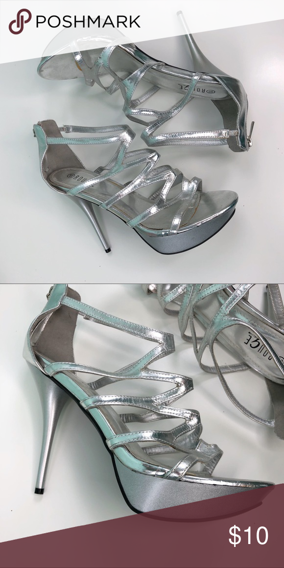 7ad413b71e8 Silver heels Just like in the picture True to size Rouge Helium Shoes Heels