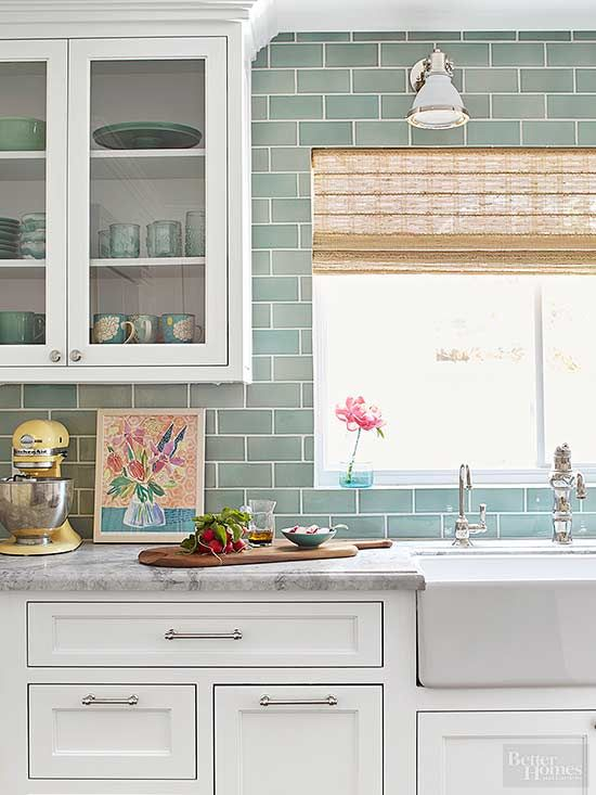 Colored Subway Tiles an '80s kitchen makeover that's anything but cookie cutter