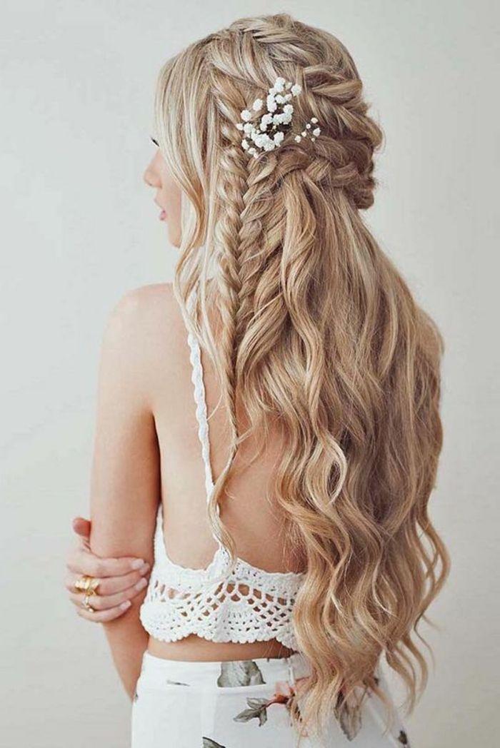 peinados boda pelo largo rizado rubio trenzas francesas trenzas pelo largo - Trenzas Pelo Largo