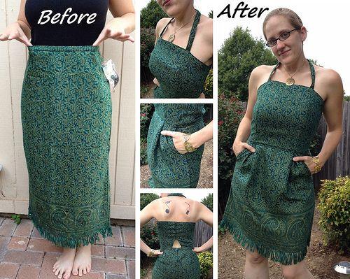 Emerald Green Tulip Dress Refashion by CarissaKnits