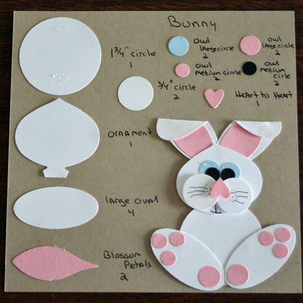 Söpö pupu on koottu yksinkertaisista muodoista. Ihana toteutettavaksi vaikka korttiin! #pupu #bunny #easter #askartelu #paperiaskartelu #craft #papercraft #diy #paperfolding #tutorial