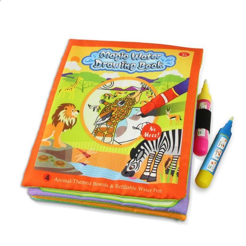 çocuklar Hayvanlar Boyama Sihirli Su çizim Kitap 2 Su Kalem Ile