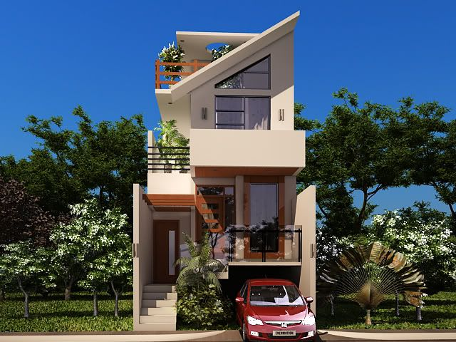 Front Elevation With Stilt Parking : Small plot house with underground car parking great