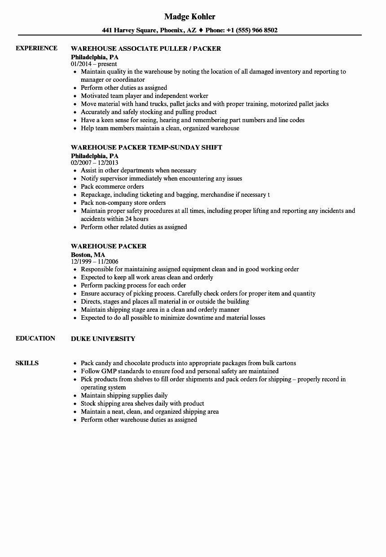 Packer Job Description Resume New Warehouse Packer Resume