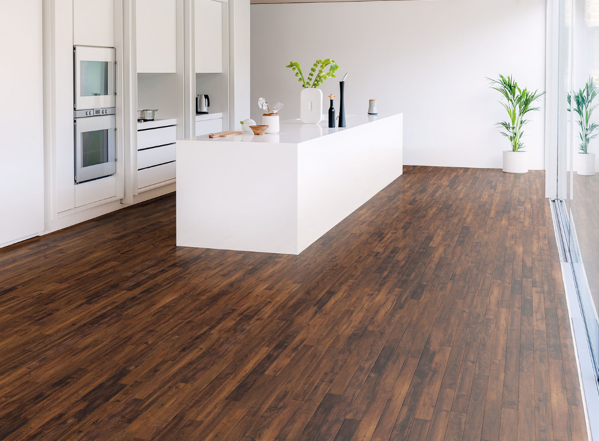 a wooden floor looks great in a kitchen and this striking vinyl design by kardean looks like the on kitchen remodel vinyl flooring id=64814
