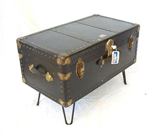 GREYHOUND COFFEE TaBLE Quality Luggage W Eames Era Hair Pin Legs A Wardrobe  Suitcase Distressed Upcycled