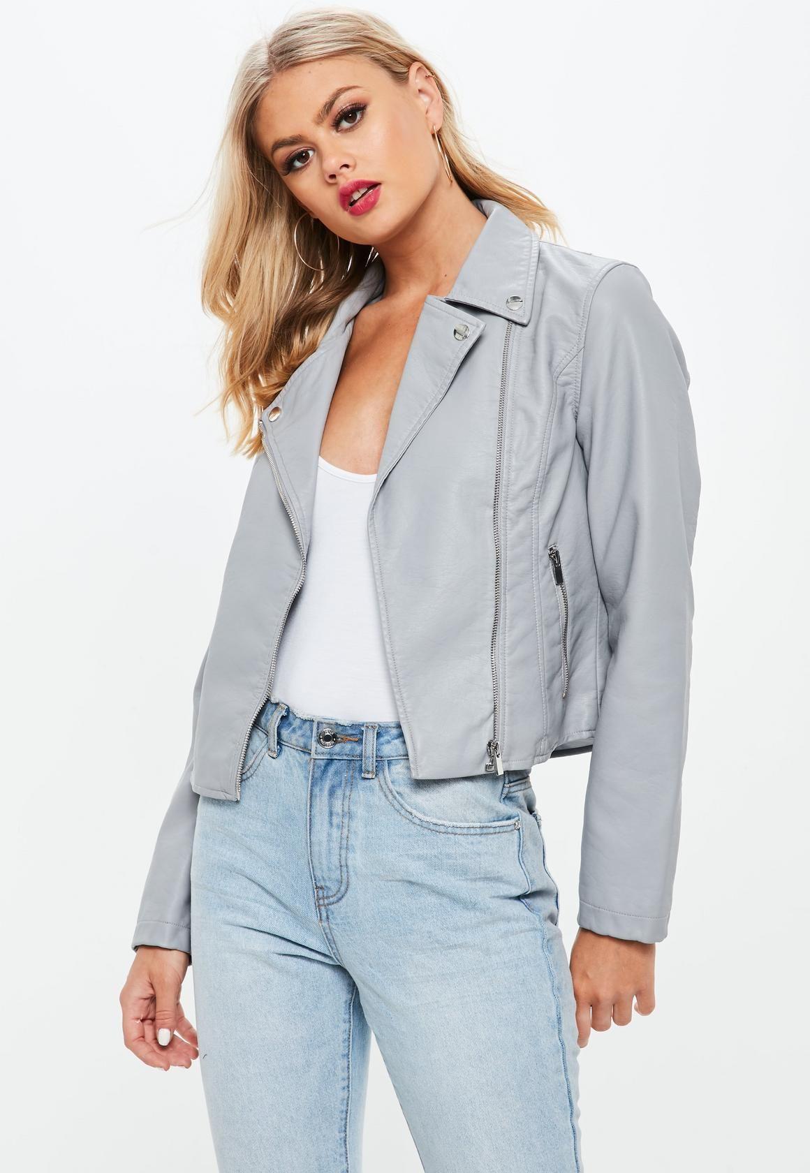 Missguided Grey Faux Leather Biker Jacket