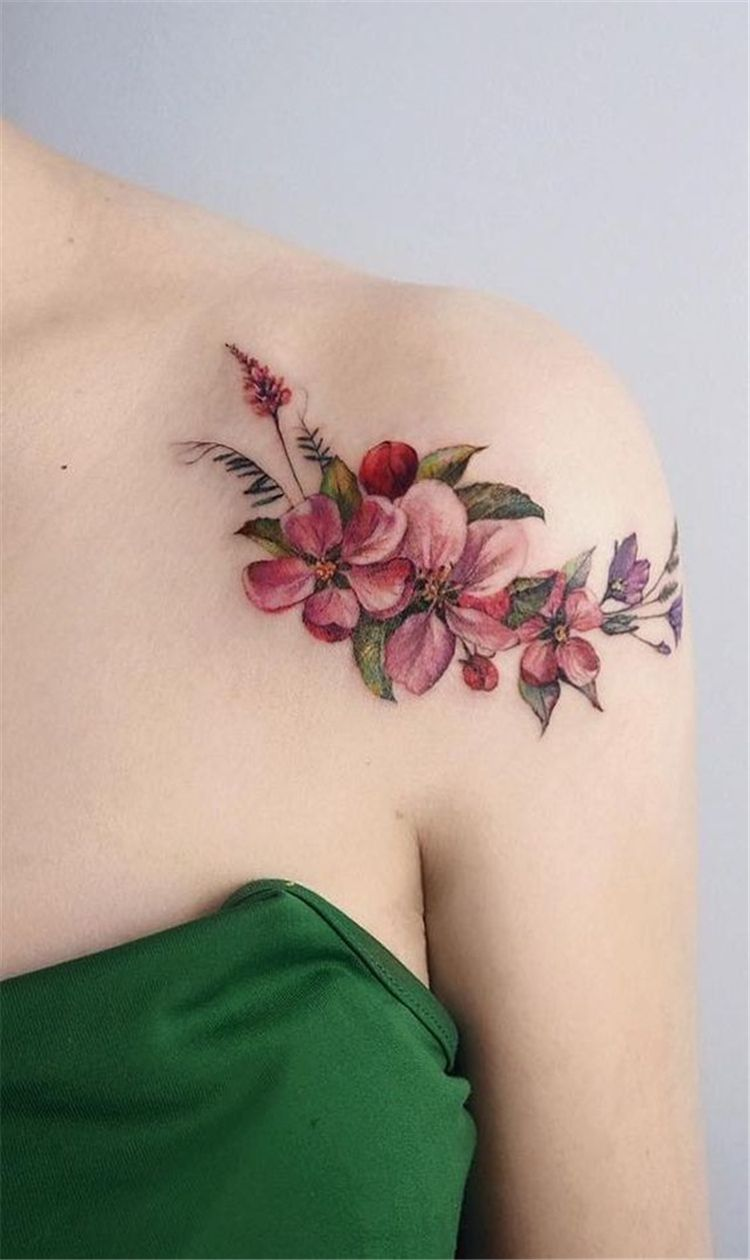 80 Gorgeous Watercolor Floral Tattoo Designs For Women Page 34