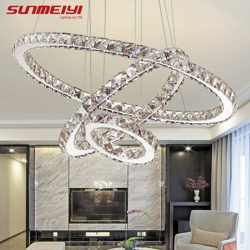 Modern Led Crystal Chandelier Circle Pendant Light Cristal Lustre Chandeliers Living Room Ceiling Lamp Led Dimming Fixtures For Sale Ceiling Lights & Fans Ceiling Lights