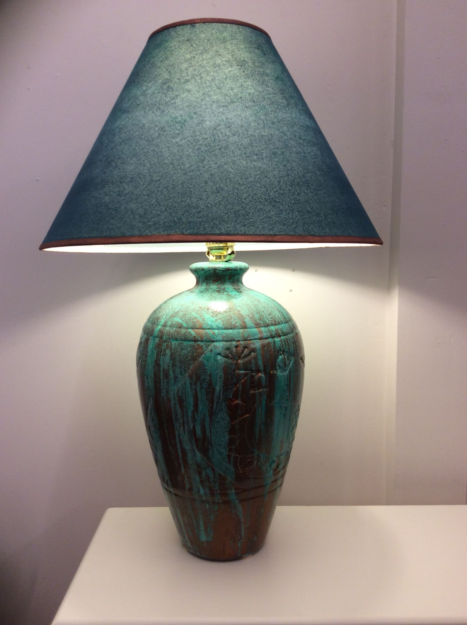 Ceramic Lamp Base Painted With Modern Masters Metal Effects Copper And Blue Patina Pottery Lamp Ceramic Lamp Base Ceramic Lamp