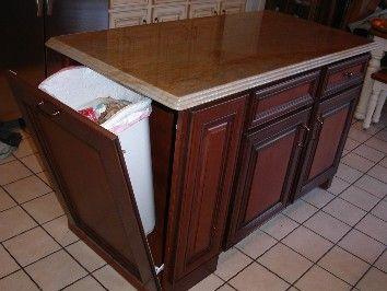 Island W Trash Can Compartment Kitchen Island Garbage Diy Kitchen Storage Hidden Trash Can Kitchen