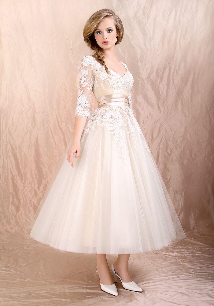 Sleeves Tea Length Wedding Dress