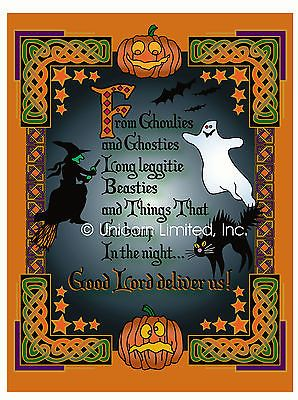 HALLOWEEN GHOULIES AND GHOSTIES ART PRINT Perfect for  Samhain Celts