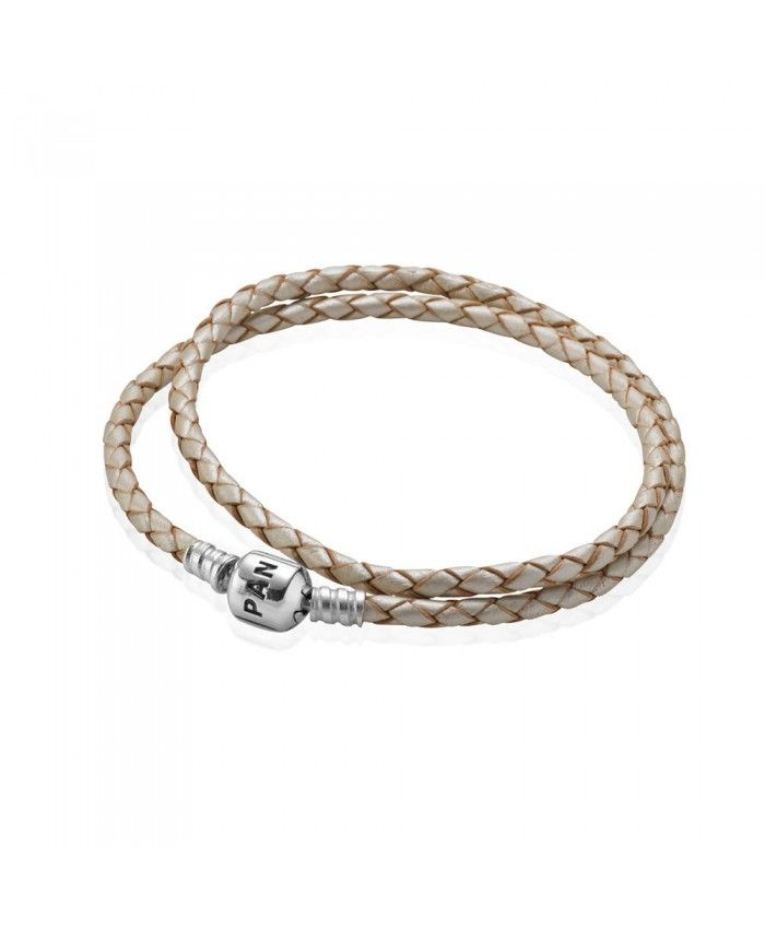 PANDORA Bracelet - Champagne Leather Double Wrap with Silver Clasp, Moments  Collection
