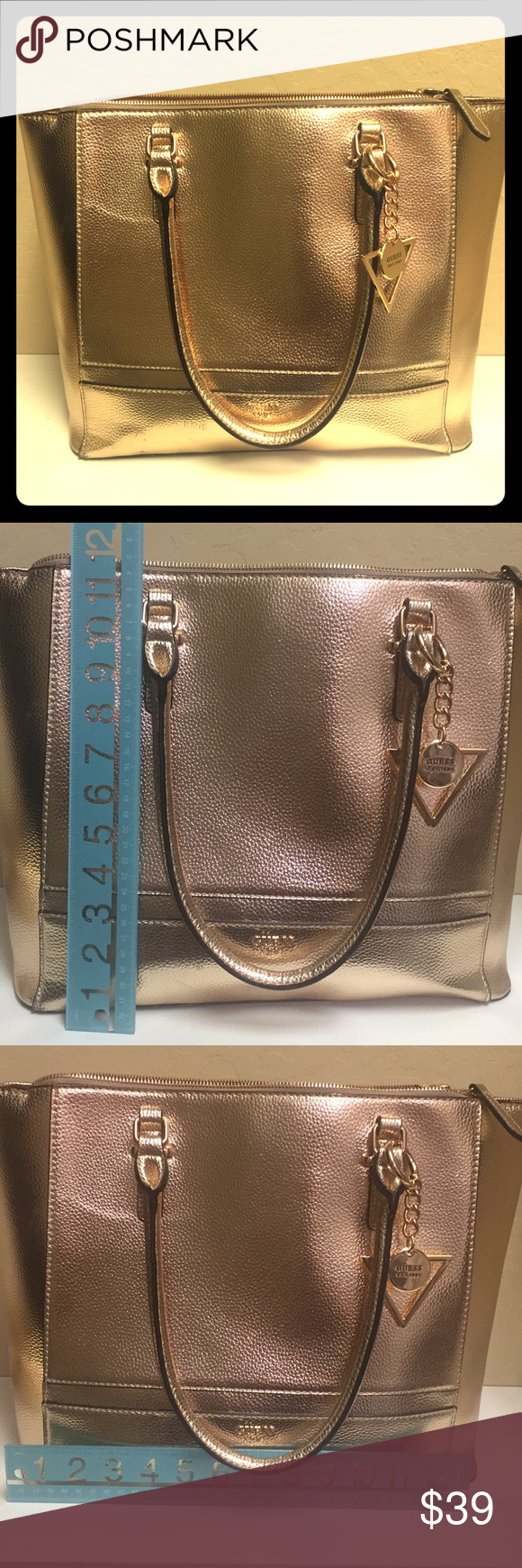 Guess satchel in beautiful metallic rose gold Almost perfect Guess bag or  purse. Large enough to hold a small laptop. Purchased new in January 2018. 7b10275f767fe