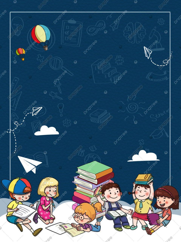 Seorang Anak Membaca Buku Sambil Duduk Di Samping Tumpukan Buku Tumpukan Buku Kartun Anak Gambar Latar Belakang Untuk Unduhan Gratis In 2021 Book Posters Cute Cartoon Girl Kids Reading
