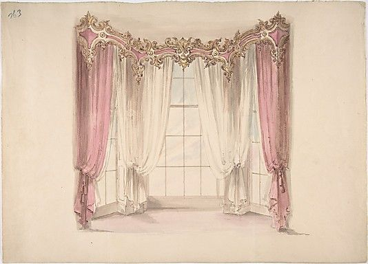 Design for Pink Curtains and White Inner Curtains, with a Gold ...