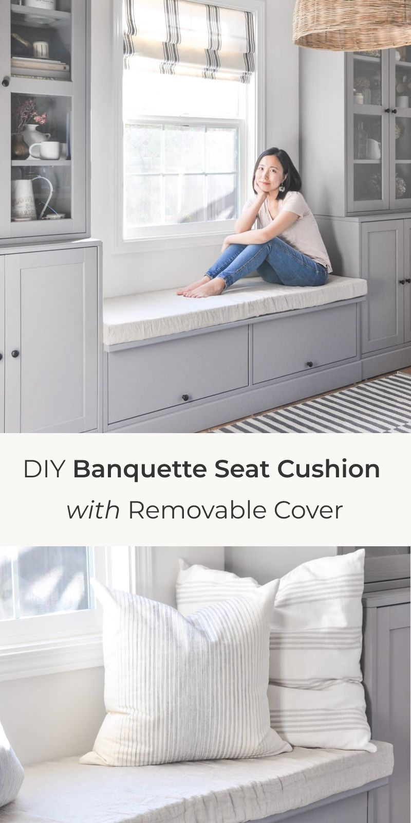 Easy DIY bench cushion with removable cover hydrangea