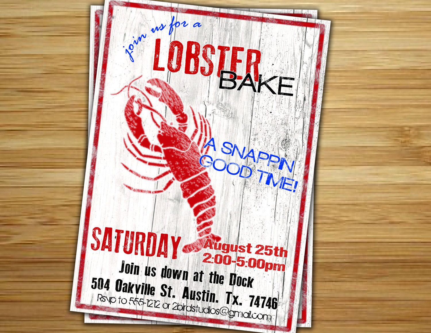Lobster Bake Party Invitation Invite Personalized Diy Lobster