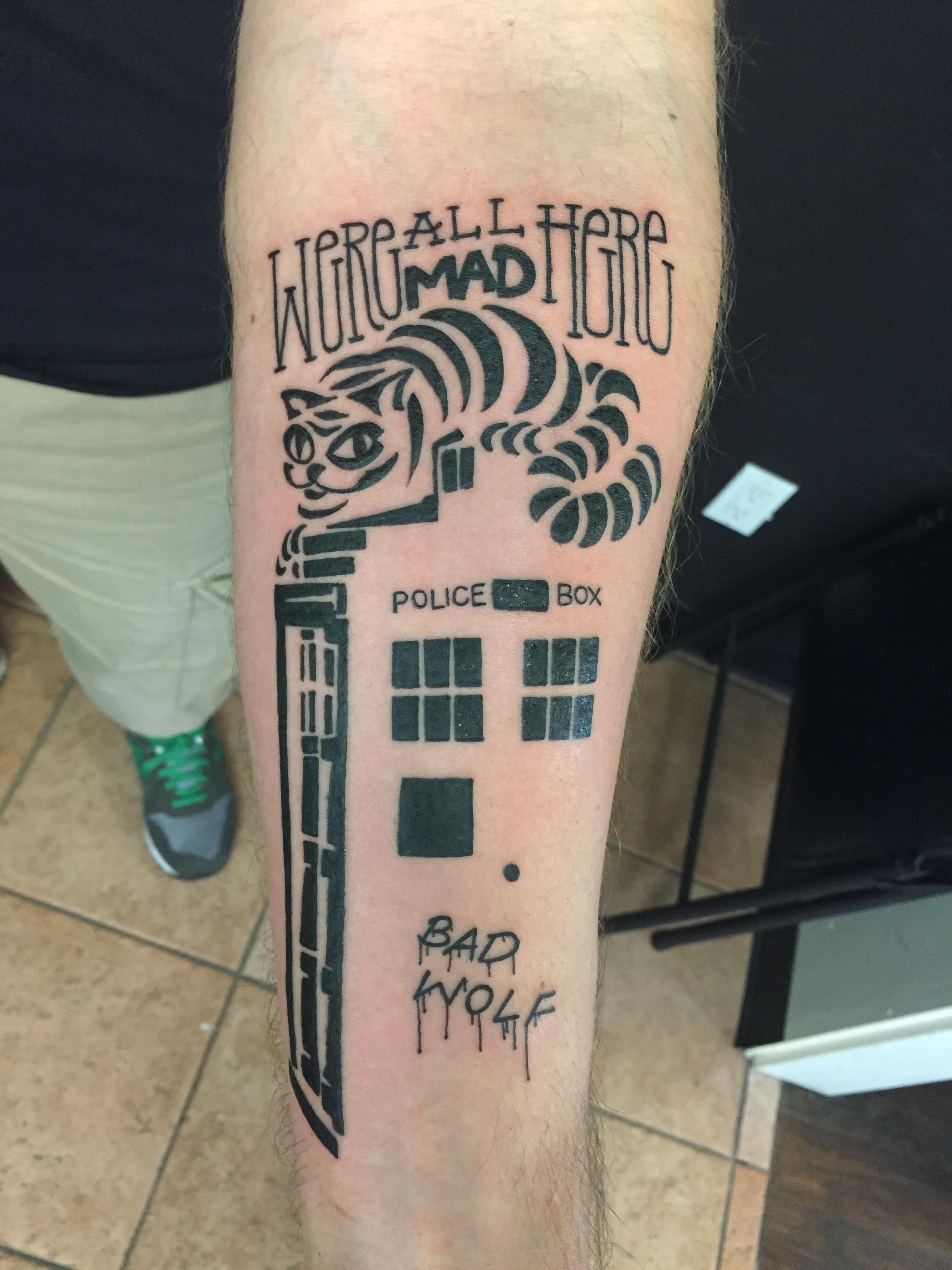 Small Doctor Who Tattoo: Body Art Mixes Doctor Who And Alice In Wonderland