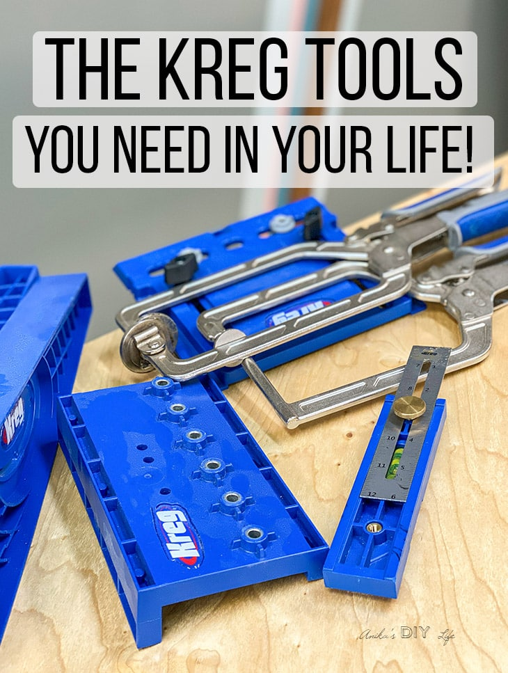 These simple tools from Kreg Tool company will make woodworking so much easier for beginner woodworkers! Check out the entire list to see the tools you need! #anikasdiylife