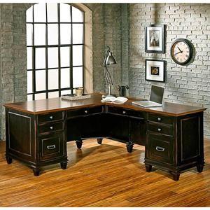 hartford l desk in black and oak nebraska furniture mart home rh pinterest com