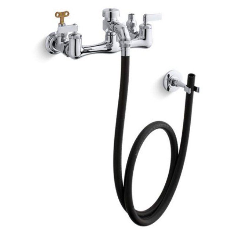 Kohler K8928 Double Lever Handle Service Sink Faucet With Loose Key Stops And Rubber Hose Sink Faucets Faucet Kohler