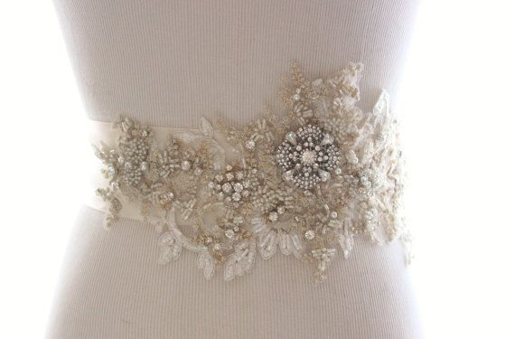 Bridal Sash Bridal Belt Wedding Belt Rhinestone Sash Champagne