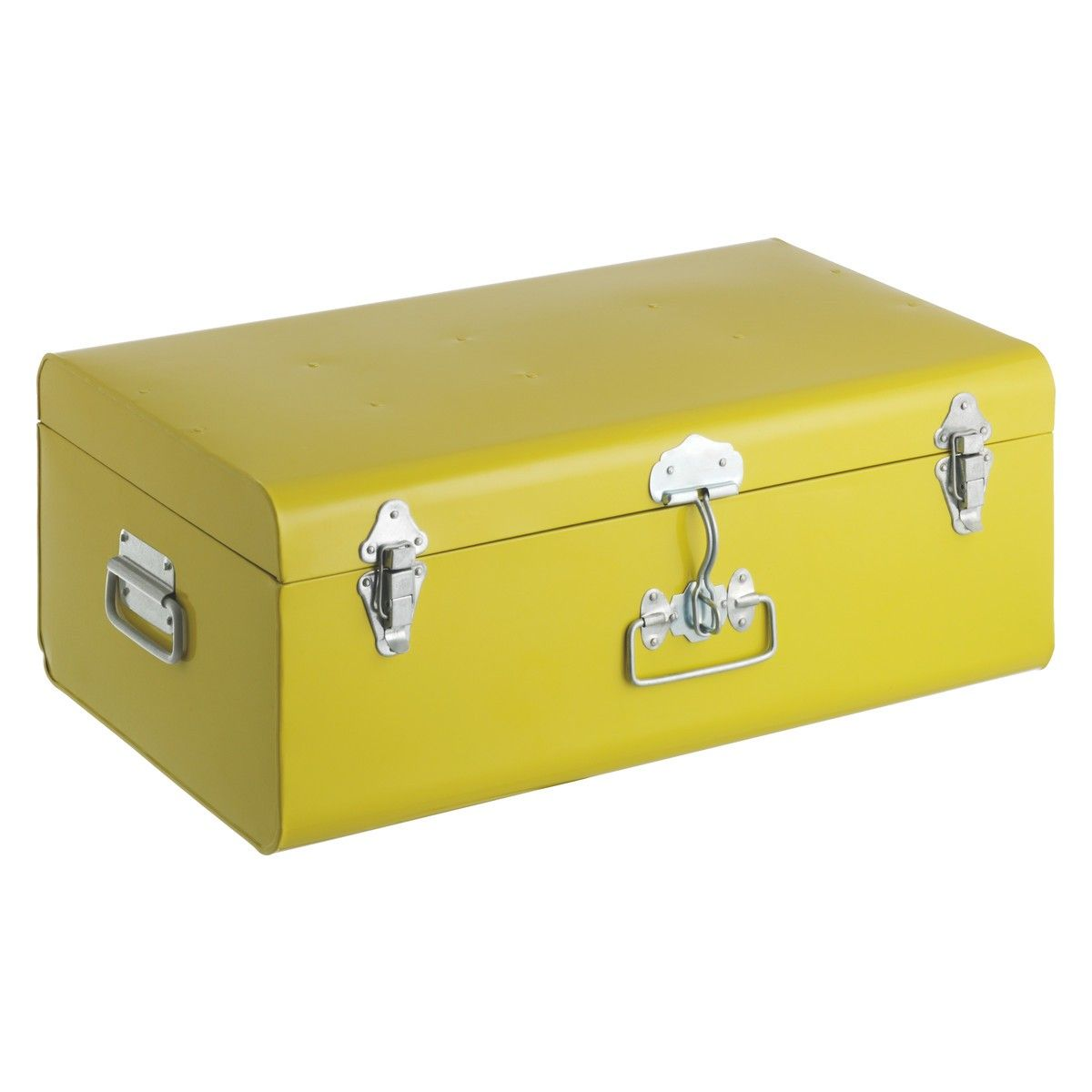 TRUNK Yellow large metal trunk with silver clasps | Wooden ...