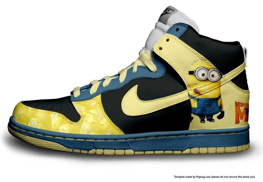 i found a template for some nike shoes so i thought id make a quick  creation dispicable me - minions - nike