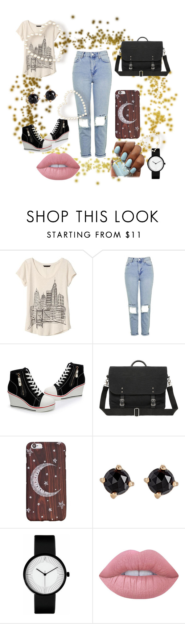 """Untitled #677"" by modapamy ❤ liked on Polyvore featuring Banana Republic, Topshop, Irene Neuwirth and Lime Crime"