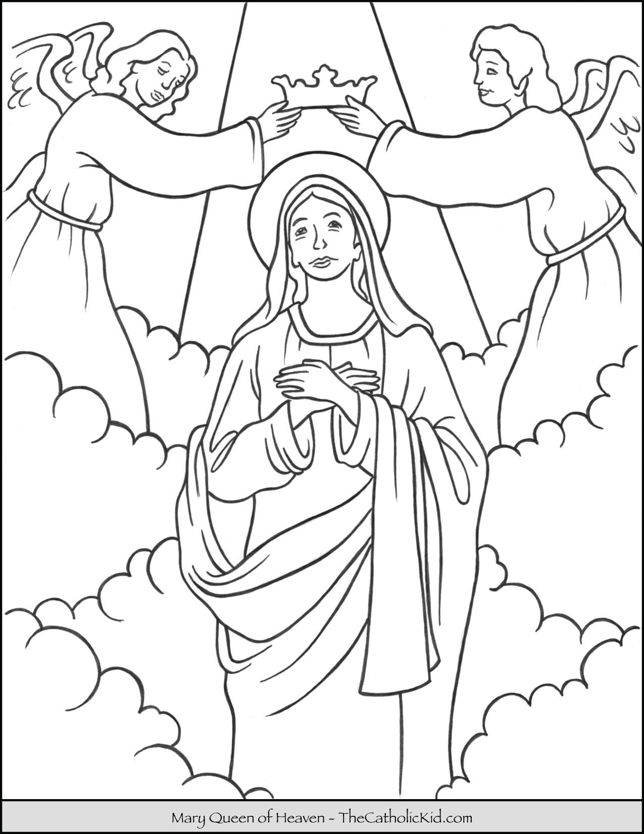 Mary Queen Of Heaven Coloring Page Thecatholickid Com Catholic Coloring Coloring Pages Mermaid Coloring Pages