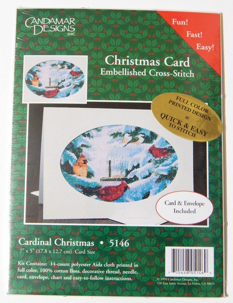 Candamar Designs Embellished Cross Stitch Christmas Card Kit Cardinal Christmas #CrossStitch #Cardinal #ChristmasHolidayCard